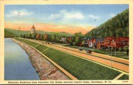 West Virginia Charleston Kanawah Boulevard From Kanawha City Bridge Showing Capitol Dome 1944 Curteich Curteich - Charleston