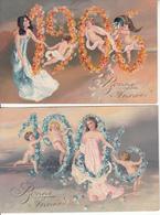 Fantaisie - Bonne Année 1906 - Lot De 2 Cartes Luxes Artistiques - Gaufrées - Femmes