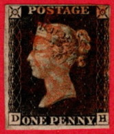 GBR SC #1 U (D,H) 1840 Queen Victoria 3+margins W/red Cancel CV $320.00 - Used Stamps
