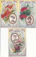 Fantaisie - Bouquets - Lot De 6 Cartes Luxes Artistiques - - Fleurs