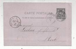 Entier Postal Sur Carte Postale ,1880 ,  NIORT , LIMOGES , 2 Scans - Enteros Postales
