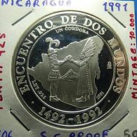 Nicaragua 1 Cordoba 1991 Silver Proof - Nicaragua