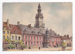 62 HESDIN Vers Montreuil L'Hôtel De Ville En 1960 Signée Illustrateur Barday En 1960 - Hesdin