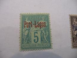 TP Colonies Françaises Port Lagos Charnière N° 1 - Puerto Lagos (1893-1931)
