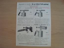 DOCUMENT PUBLICITAIRE APPAREILS A SOUDER LA LYONNAISE - Frankreich