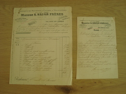 LOT DE 2 FACTURES MAISON E. BRION FABRIQUE DE MACHINE A COUDRE & VELOCIPEDES 1902 - France