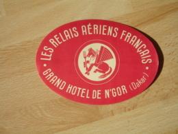 Air France Hippocampe  Le Relais Aerien Francais Grand Hotel N 'gor  Etiquette Hotel Valise Luggage - Etiquettes D'hotels