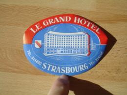 Le Grand Hotel Strasbourg Etiquette Hotel Valise Luggages - Etiquettes D'hotels