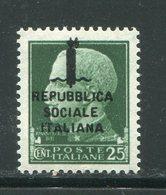 ITALIE- République Sociale Italienne- Y&T N°21- Neuf Sans Charnière ** - 4. 1944-45 Social Republic