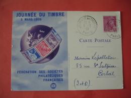 1939 , Saint Etienne Paris Journee Du Timbre Carte Federale - Marcophilie (Lettres)