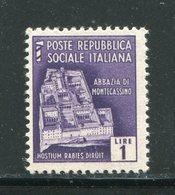 ITALIE- République Sociale Italienne- Y&T N°38- Neuf Sans Charnière ** - Mint/hinged