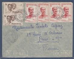 = Tananarive 29.11.50 à Paris N°306 X2 Types Sakalaves Et 308 X4 Général Galliéni Sur Enveloppe - Brieven En Documenten