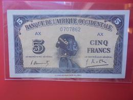 AFRIQUE De L'OUEST 5 FRANCS 1942 BELLE QUALITE PEU CIRCULER (B.12) - Stati Dell'Africa Occidentale