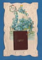 CARTE GAUFREE BONNE ANNEE 1911 AVEC PETIT LIVRE - New Year