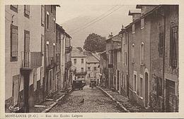 X121898 PYRENEES ORIENTALES MONT LOUIS RUE DES ECOLES LAIQUES CARTE DE COULEUR SEPIA - Francia
