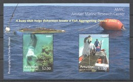 B1222 ONLY ONE IN STOCK AITUTAKI MARINE LIFE AMRC RESEARCH CENTER TO LOCATE A FISH 1BL MNH - Maritiem Leven