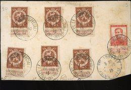 Le Havre Special 7 Timbres Belges Oblitérés Sur Fragment Octobre 1915 - WW I