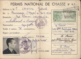 Carte Permis National De Chasse Sous Préfecture Prades Pyrénées Orientales 66 Timbres Fiscaux 1964 1967 1968 Fiscal - Fiscaux