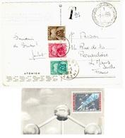 BRUXELLES Exposition Carte Postale Affranchi COTE VUE Non Pris En Compte Taxe Gerbes  Le MANS 27F Yv T 82 85 87  Ob 1958 - Taxes