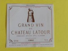 PAUILLAC  ETIQUETTE  1ER GRAND CRU GRAND VIN DE CHATEAU LATOUR 1992 - Bordeaux