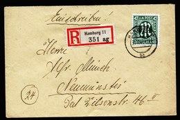 A6685) Bizone R-Brief V. Hamburg 30.10.45 N. Neumünster M. EF Mi.31Az - Zona Anglo-Americana