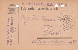 9744-FRANCHIGIA - AUSTRIA - K.U.K. FELDPOSTAMT 399 - 9-10-1916 - Storia Postale