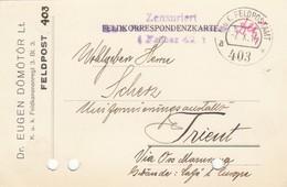 9746-FRANCHIGIA - AUSTRIA - K.U.K. FELDPOSTAMT 403 - 7-10-1916 - Lettres & Documents