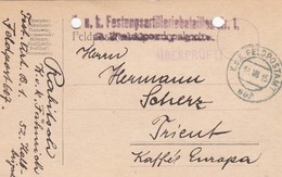 9751-FRANCHIGIA - AUSTRIA - K.U.K. FELDPOSTAMT 607 - 13-7-1915 - Lettres & Documents