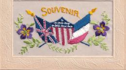 Carte Brodée Souvenir Pensées Drapeaux Anglais Américain Français - Bestickt