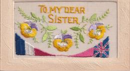 Carte Brodée To My Dear Sister  écussons Anglais Français - Bestickt