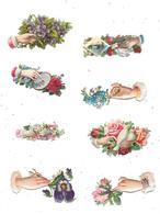 Lot De 8 Découpis, Main Tendue Vers Fleurs, - Fleurs