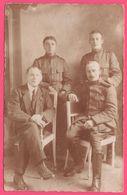 WW1 - Cp Photo - Groupe De 4 Militaires - Militaire - Chasseurs Alpins ?? - Cor De Chasse Sur Le Col - War 1914-18