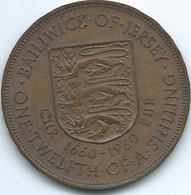 Jersey - 1960 - Elizabeth II - 1/12th Shilling - 300th Anniversary Of Charles II - KM23 - Jersey