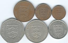 Jersey - Elizabeth II - 1st Decimal Issues - ½ (1971) 1 (1980), 2 (1971), 5 (1968), 10 (1968) & 50 Pence (1969) - Jersey
