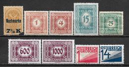 1921-1927 AUSTRIA 9 Postage Due MNH Stamps (Michel # 102,103,105,109,115,122,124,132,141) - Segnatasse