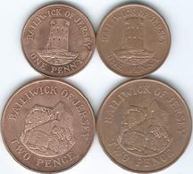 Jersey - Elizabeth II - 1 Penny - 1994 (KM54b) & 2008 (KM103); 2 Pence - 1992 (KM55B) & 2008 (KM104) - Jersey