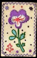 Pensée Et Croix De Lorraine - Carte Postale Ancienne Brodée Patriotique Service Des Troupes En Campagne Militaria - Patriotiques