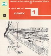 """METRO DE BRUXELLES - """"Demey"""" - LIGNE 1  (Dépliant 27) - Non Classés"""