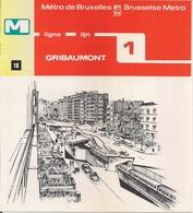 """METRO DE BRUXELLES - """"Gribaumont"""" - LIGNE 1  (Dépliant 18) - Non Classés"""
