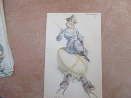 1903 Donnine Woman Illustratore Donna Due Conigli Frustino Ed. E.S.D.serie 297 - Otros