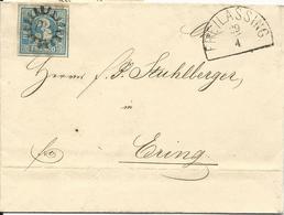 Bayern 1860, MR 135 Freilassing Auf Brief V. Hüttenau M. Sehr Breitrandiger 3 Kr - Bayern (Baviera)