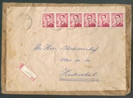 SERVICE 2Fr. BAUDOUIN LUNETTE (la Bonne Valeur) En Bande De 6 Obl. Sc HAMONT Sur Enveloppe Refcommandée Du 17-5-1957 Ver - Service