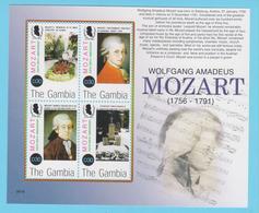 J.P.S. 7 -Musique - Timbre - Compositeur - N° 15 - Gambie - Mozart - N° Yvert 4562 à 4565 - Musique