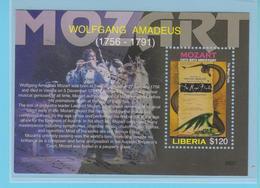 J.P.S. 7 -Musique - Timbre - Compositeur - N° 17 - Libéria - Mozart - N° Yvert BF 534 - Musique