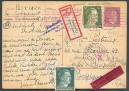 ALL. EP Mi P 299 + TP 794-796 AUSCHWITZ 17.7.44 - Lager BUCHENWALD En RECOM.-EXPRES Vers IXELLES. TB - 15546 - Guerre 40-45