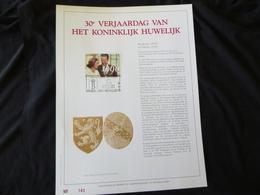 """BELG.1990 2396: """" KON.HUWELIJK """" NL.Luxe Kunstblad Geslagen In Fijn Goud 23 Karaat , 500 Exemplaren - FDC"""