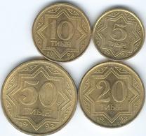 Kazakhstan - 1993 - 5, 10, 20 & 50 Tyin - Brass-plated Zinc (KMs 2-5) - Kazakistan