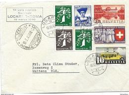 "13 - 93 - Enveloppe Avec Oblit Spéciale ""1er Vol Postal Swissair Locarno-Roma 1940"" - Other Documents"