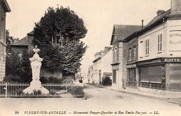 CP 27 Eure Fleury Sur Andelle Monument Pouyer-Quertier Et Rue Emile-Parquet Rottee - Other Municipalities