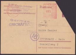 """Mi-Nr. DR P300, Wertstempel Abgeschnitten, Bedarf Mit Apt. Absenderfreistempel """"Frankfurt/M."""", 25.10.45 - Zone Anglo-Américaine"""
